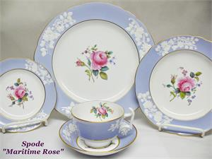 Lavender & white china with rose center