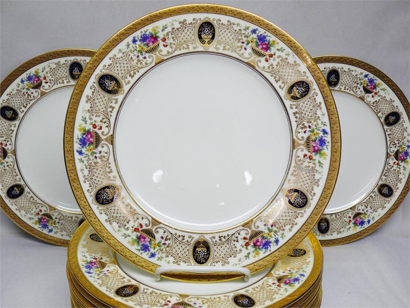 Set of 12 Cauldon for Tiffany u0026 Co. V3148 Floral Chalice Dinner Plates Raised Gold u0026 Enamel & Set of 12 Cauldon for Tiffany u0026 Co. V3148 Floral Chalice Dinner ...