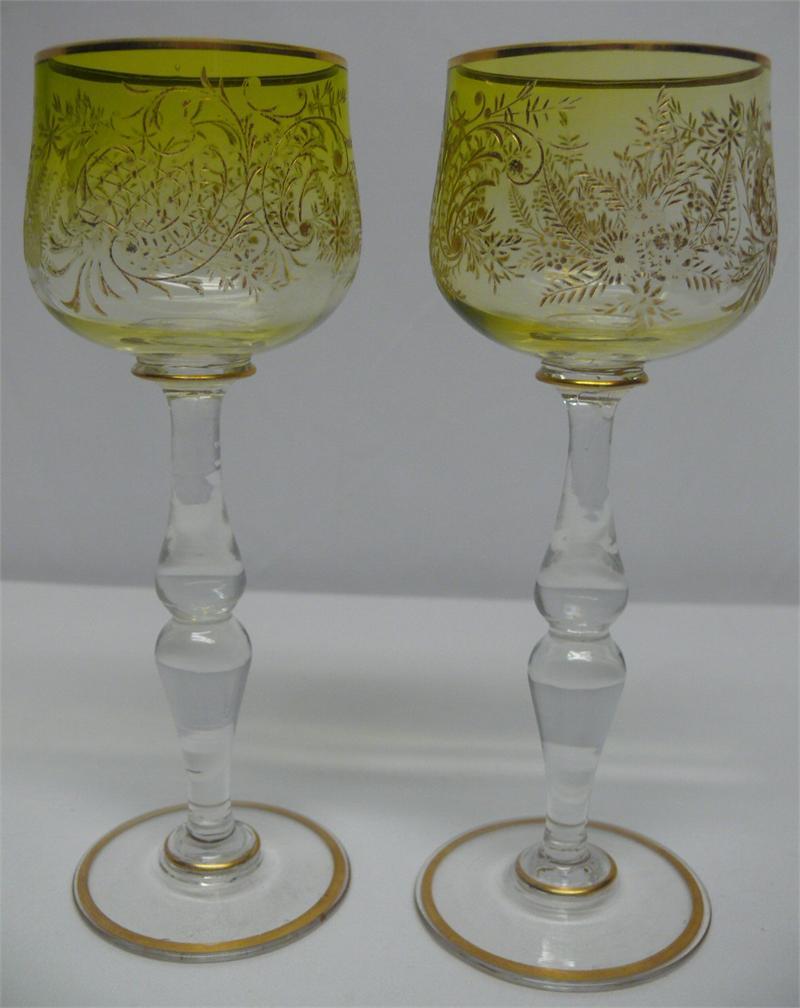 8 Antique Gold Encrusted Hock Wine Glasses