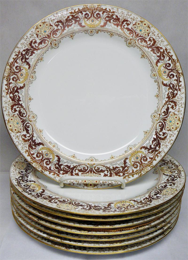 Set Of 8 Antique Doulton Burslem C6702 Dinner Plates